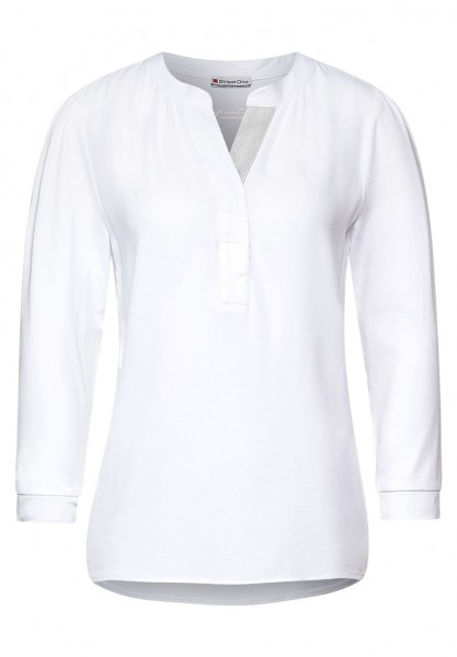 Street One Unifarbene Materialmix-Bluse